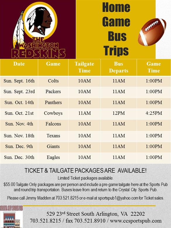 Redskin Home Games 2018