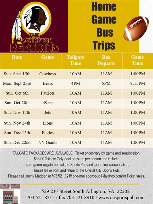 Redskin Home Games 2019