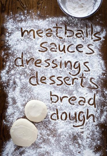 2 pieces fo dough and the words meatballs, sauces, dressings, desserts, bread and dough written with flour