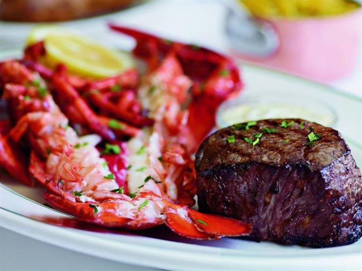 Surf n Turf platter with steak and lobster