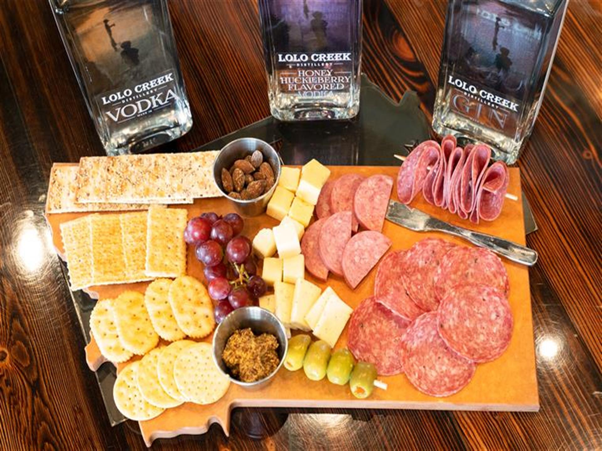 Lolo Creek Distillery chartreuse board