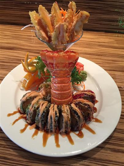 friedh shrimp cocktail served with lobster tail
