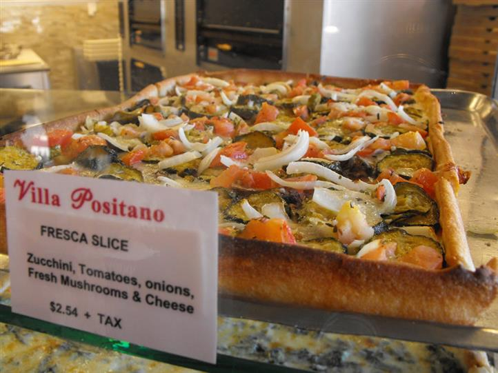 Fresca Slice, with Zucchini, Tomatoes, Onions, Fresh Mushrooms, and Cheese