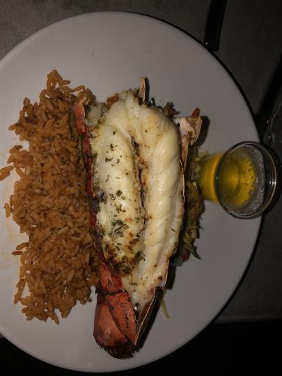 Lobster tail and rice