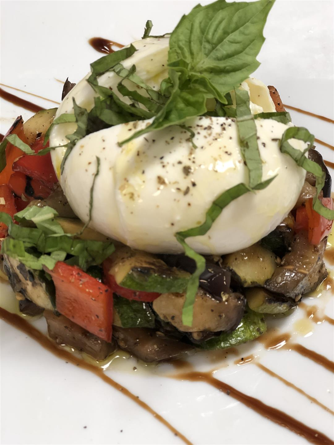 sautéed vegetables with mozzarella