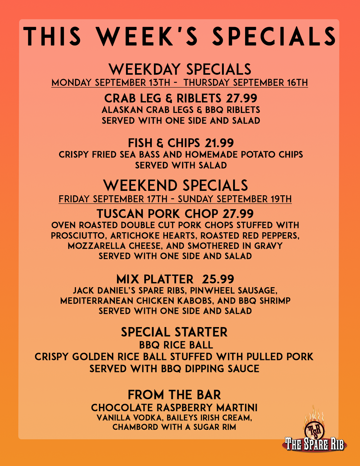 This Week's Specials at The Spare Rib