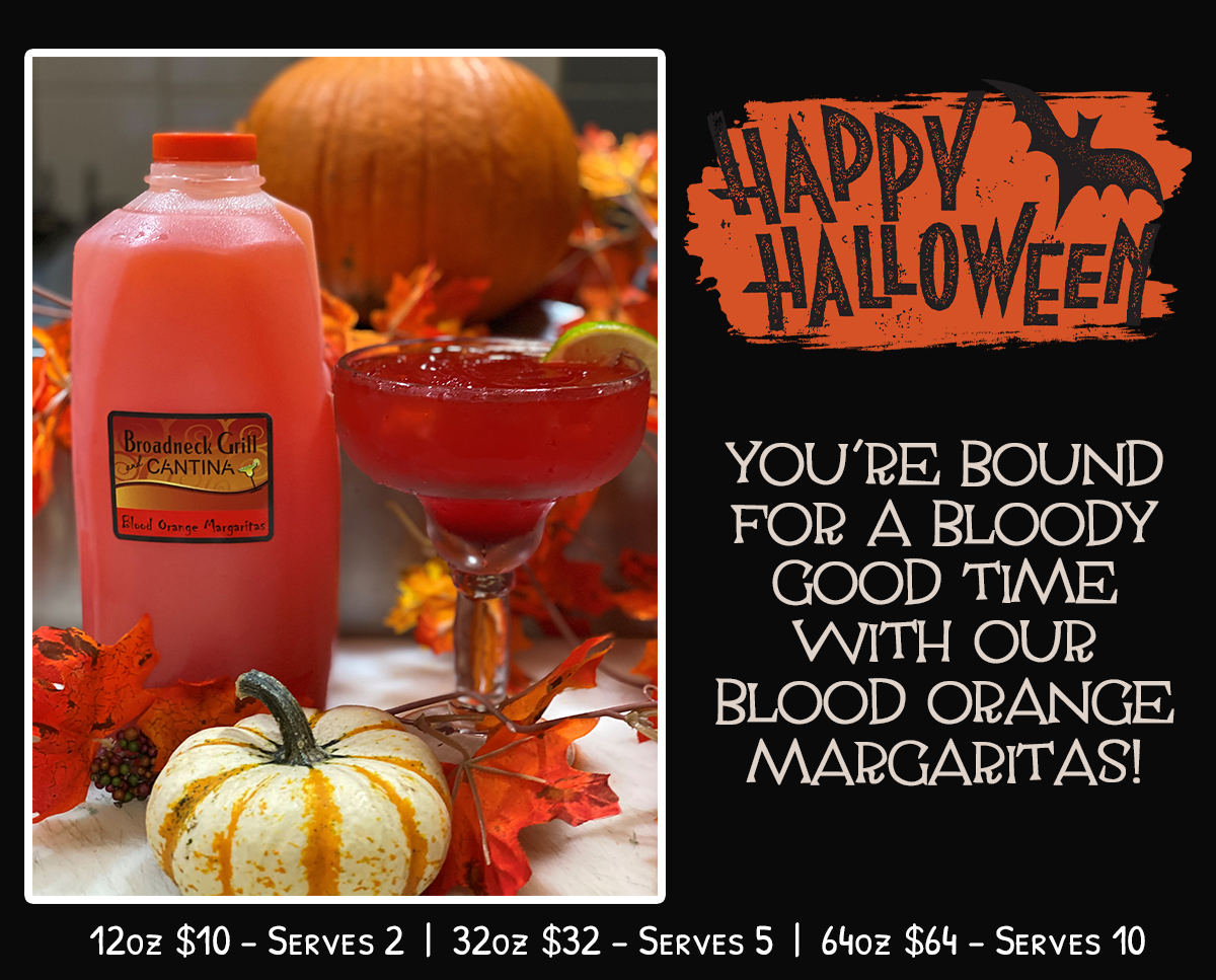 You're bound for a bloody good time with our blood orange margaritas! 12 oz $10 - serves 2   32 oz $32 - serves 5   64oz $64 - Serves 10