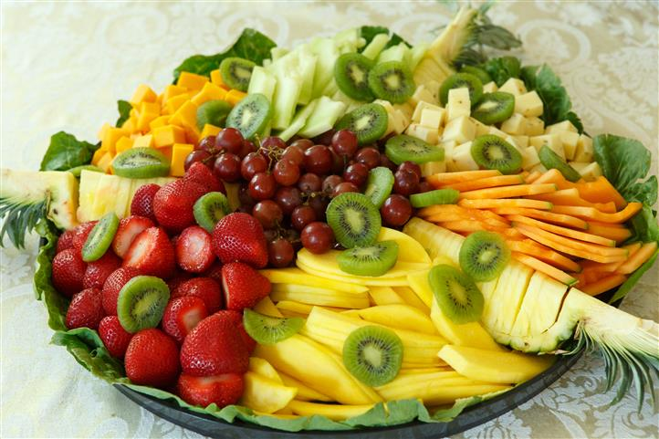 Platter filled with fruits