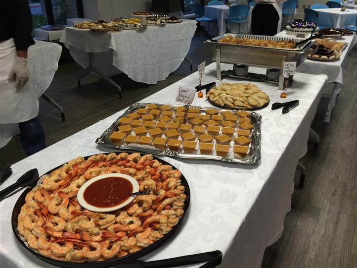 Rows of food at a catering event
