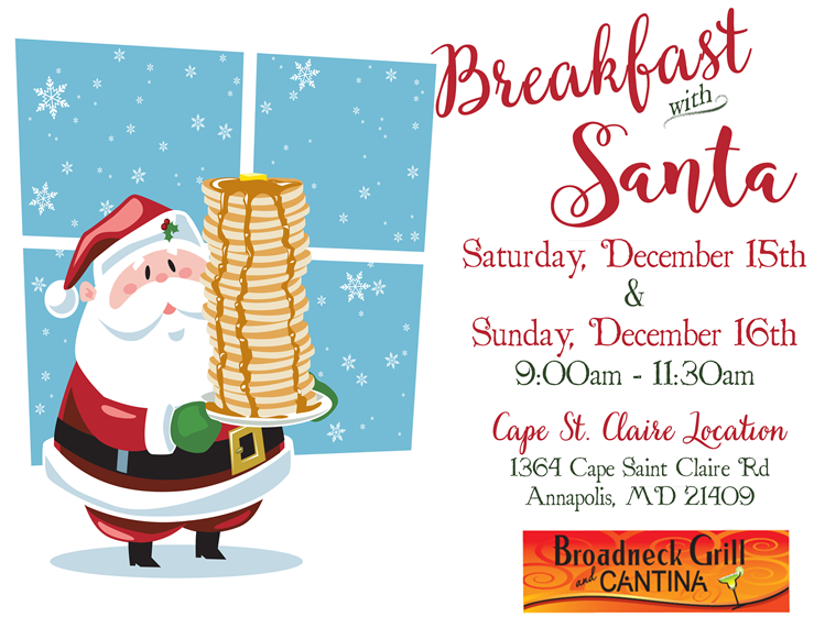 Breakfast with Santa 12/15 & 12/16 9am-11:30am