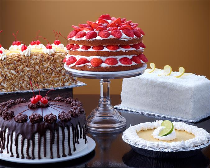 Assortment of different cakes and pies
