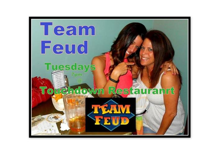 A poster of the team feud with two women.
