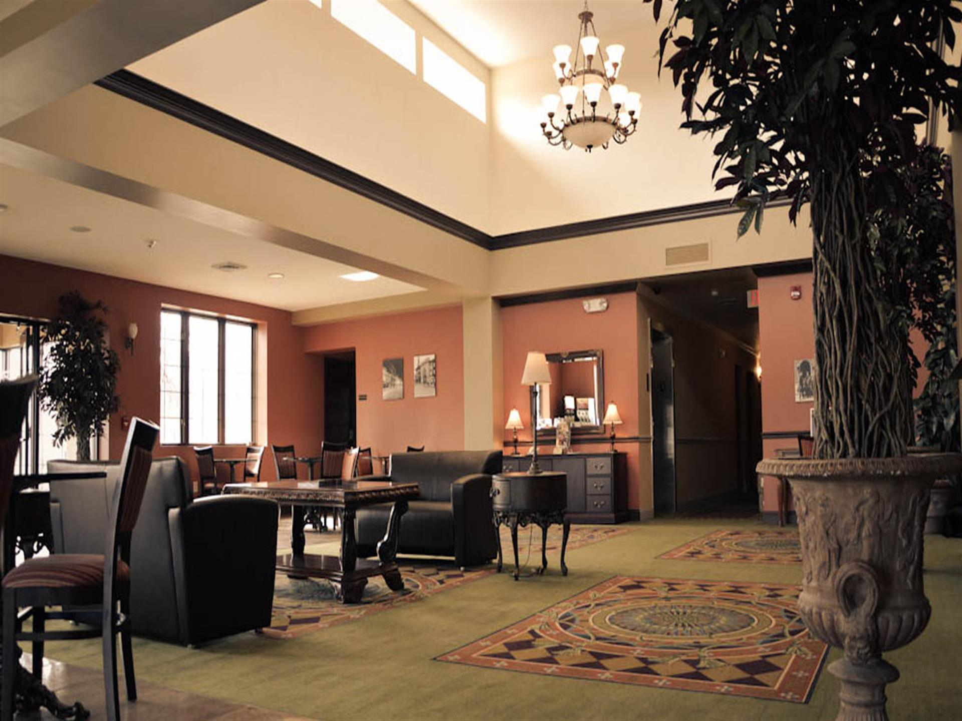 inside lobby with chairs and fancy lighting