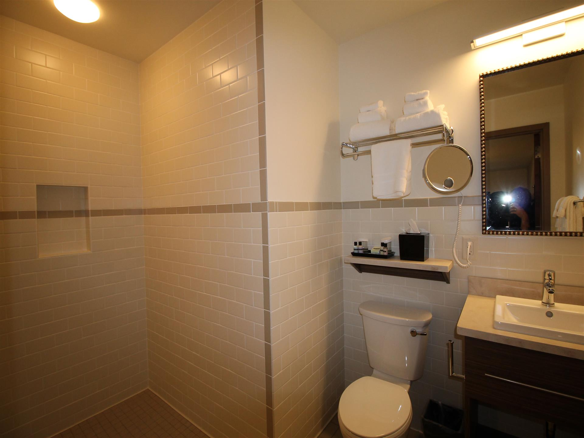 bathroom with toilet, and large standing shower