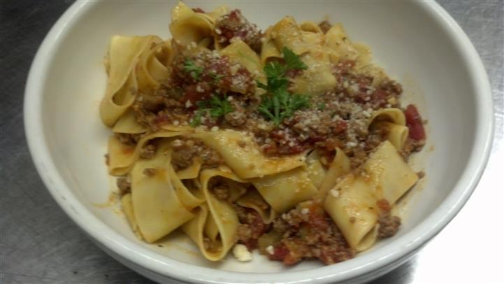 Fettuccine with meat sauce.