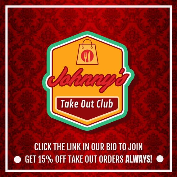 johnny's take out club logo. click to join. get 15% off take out orders always