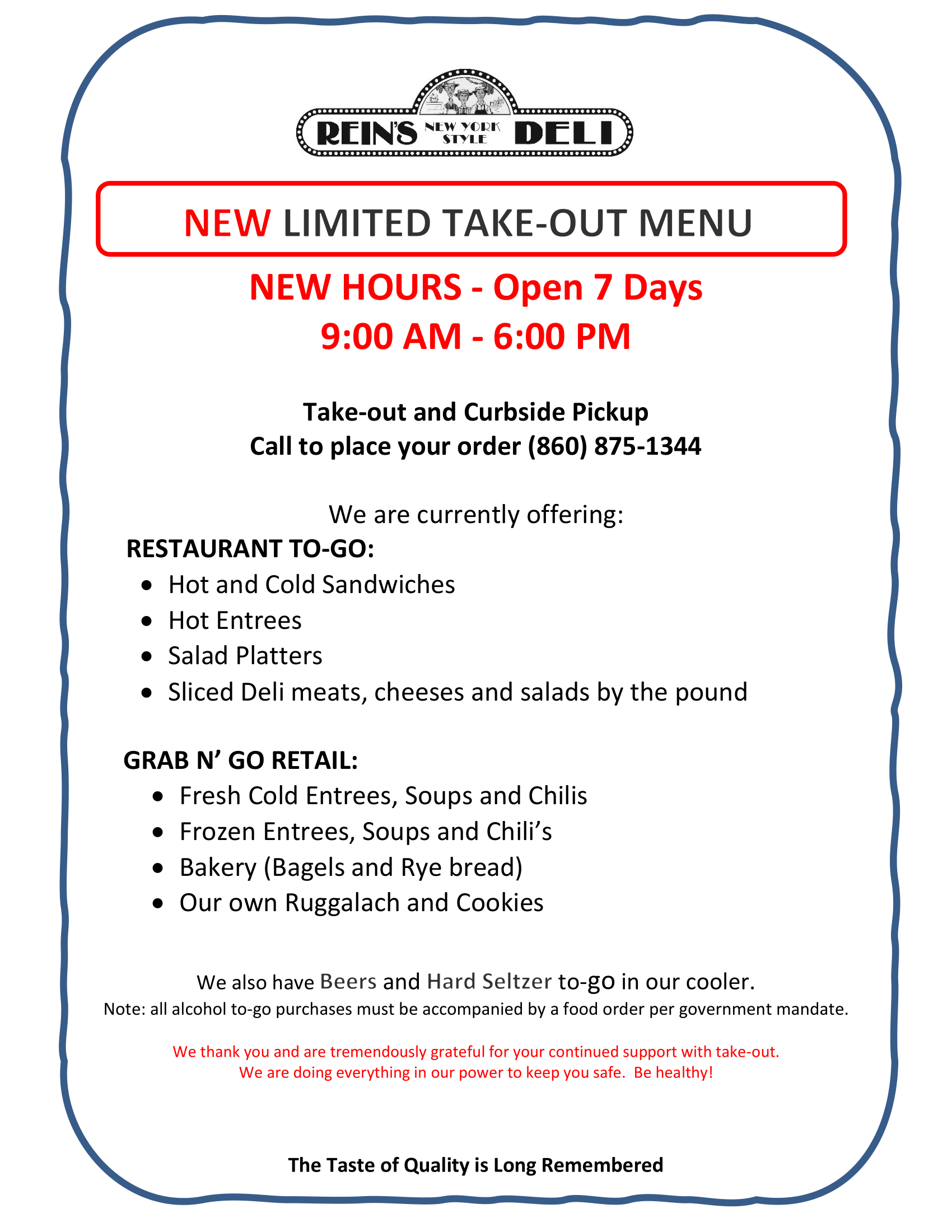 Limited Take-Out Menu Pg 1