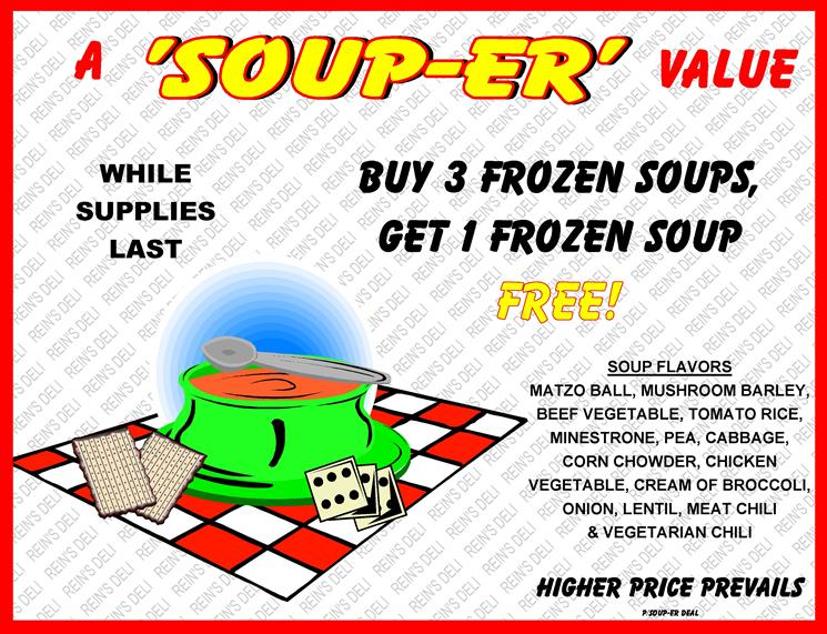 Soup sale buy 3 get 1
