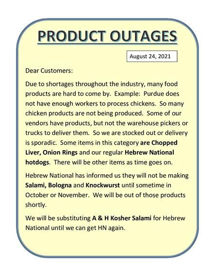 Product Outages