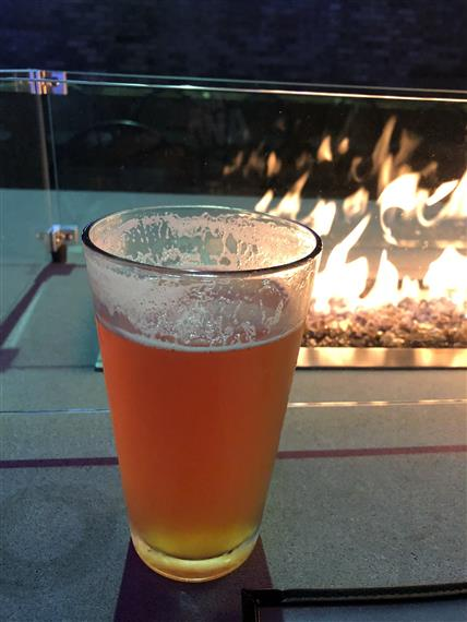 Glass of beer in front of firepit.