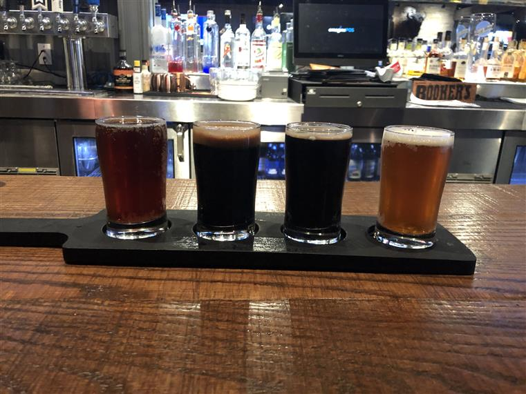 Fall beer flight on bartop