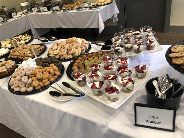 Mini assorted desserts and fruit parfaits