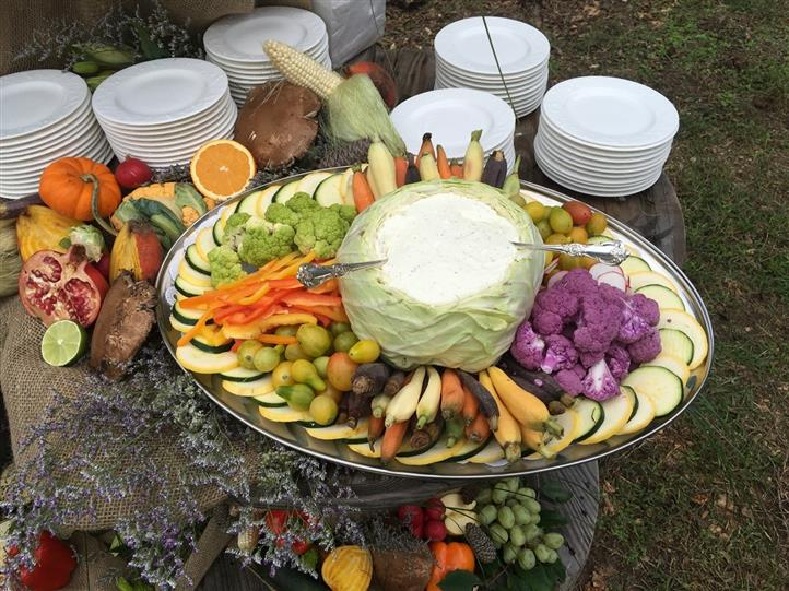 Catering display with various vegetables