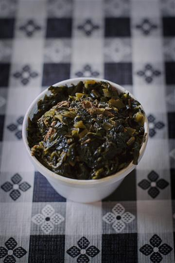 a cup of collard greens