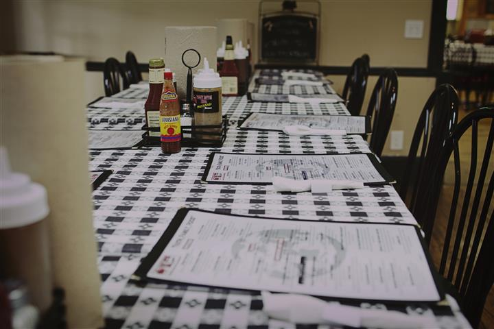 table with several menus