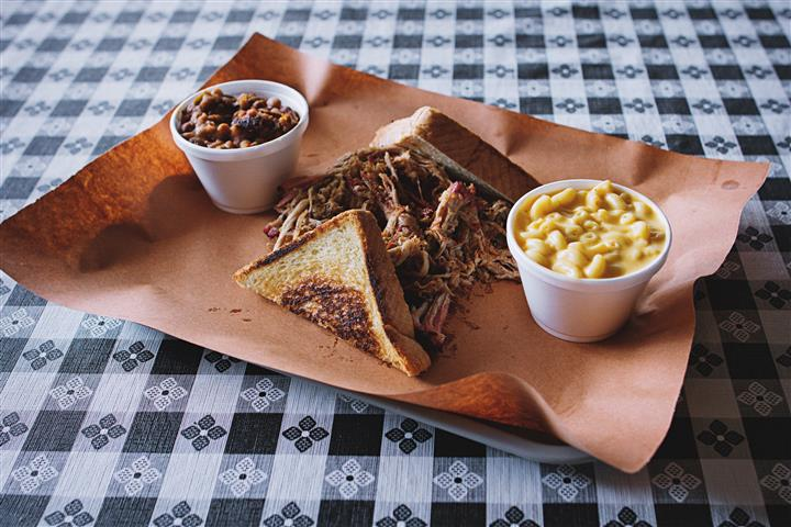 pulled pork with toast and various sides