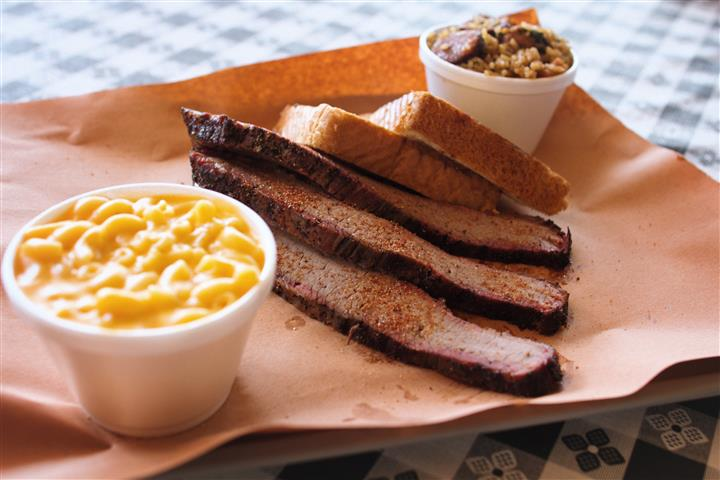 beef brisket with various sides