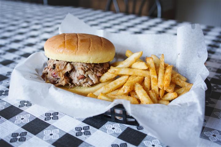pulled pork on a bun with a side of fries