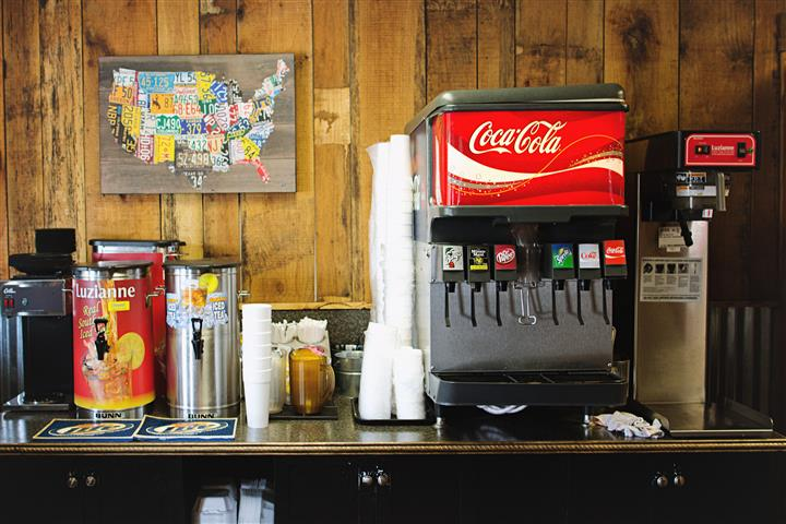 a fountain drink station