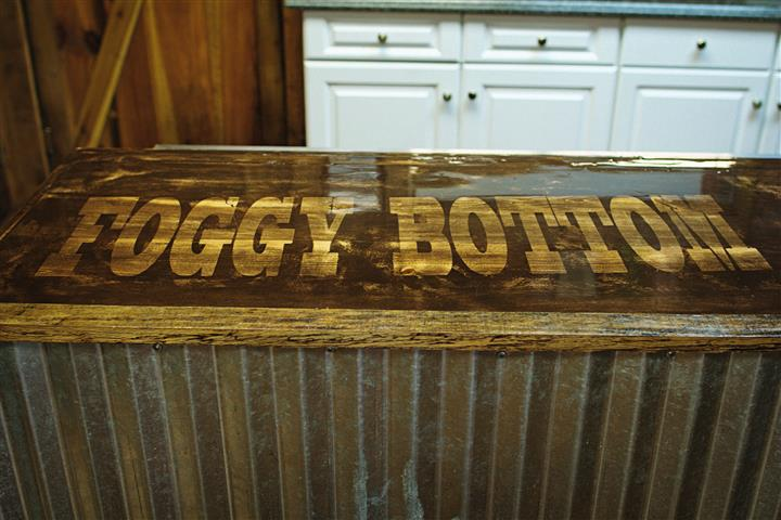"a table labeled, ""Foggy Bottom"""