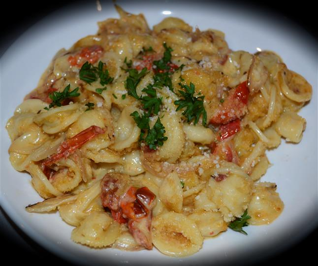 pasta with sauce and herbs
