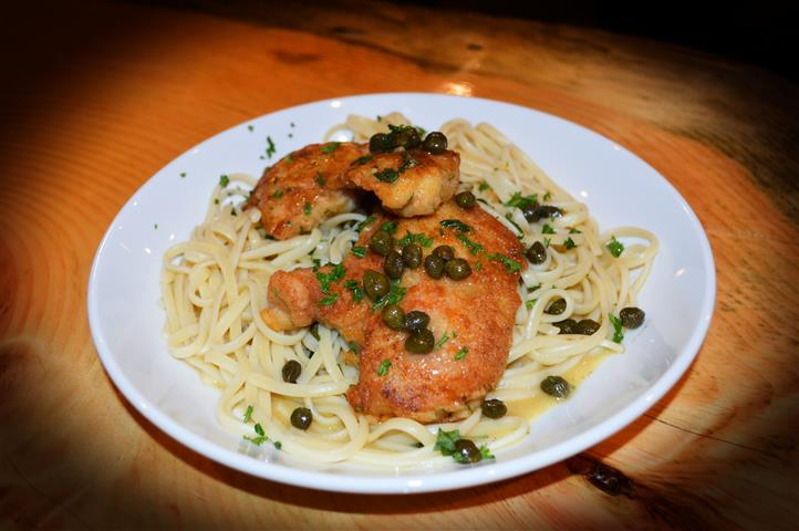 pasta with fried chicken and capers