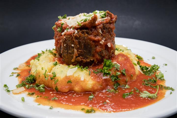 meatloaf with mashed potatoes and sauce