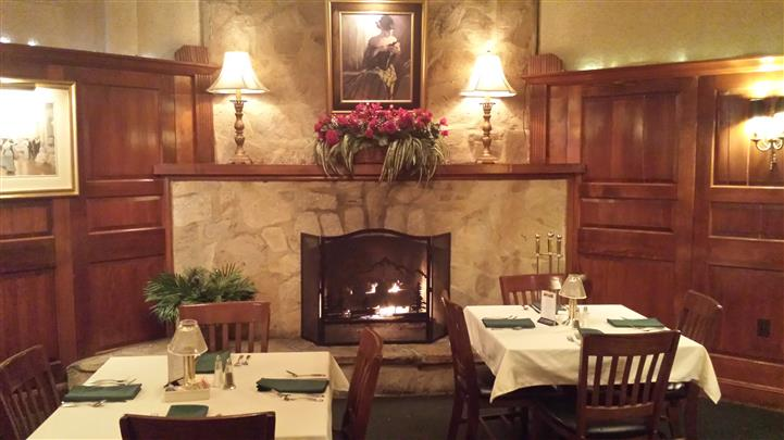 tables and fireplace