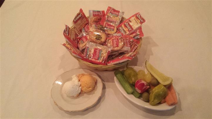 crackers, butter, and peppers