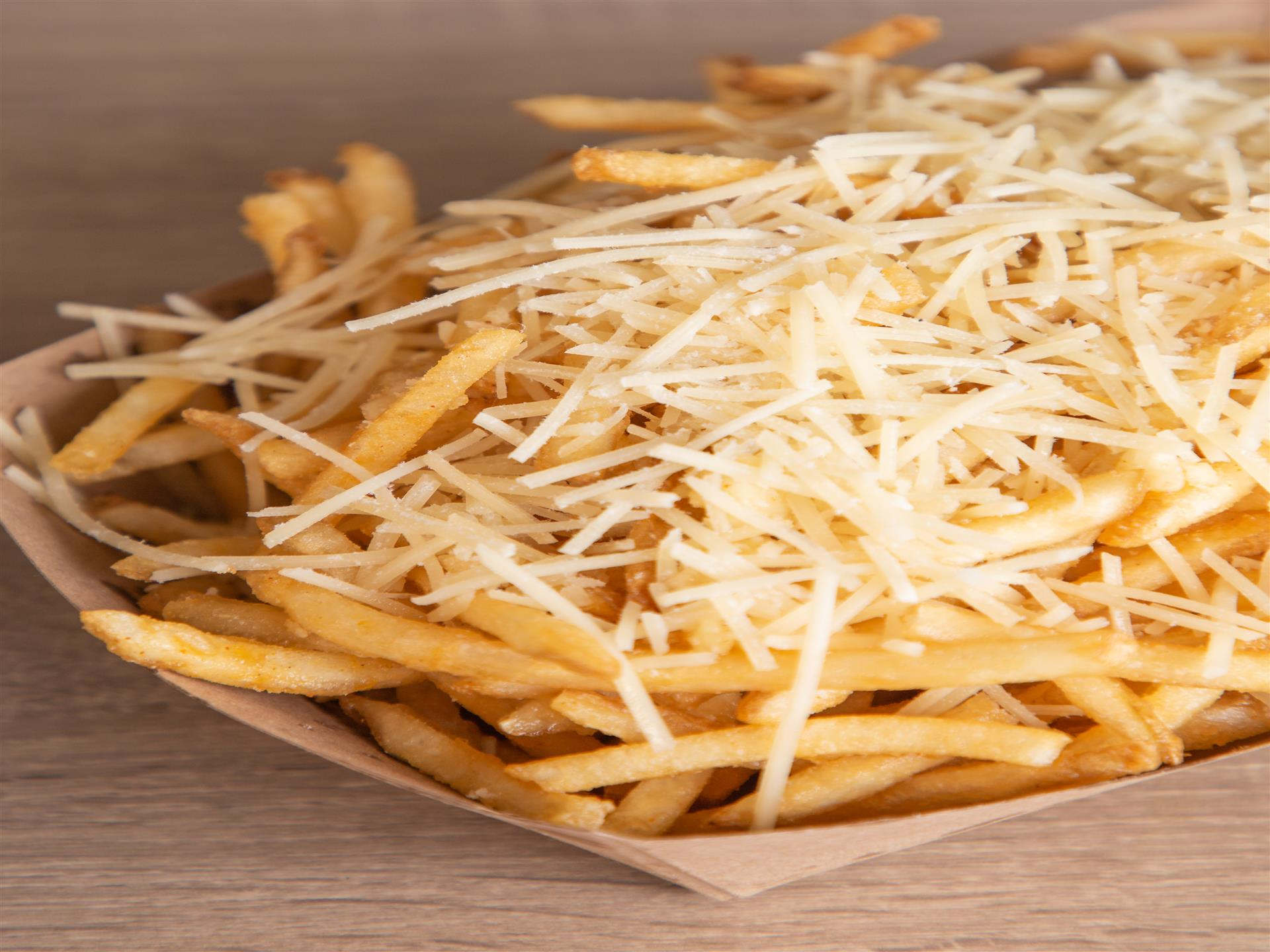 fries with shredded cheese on top