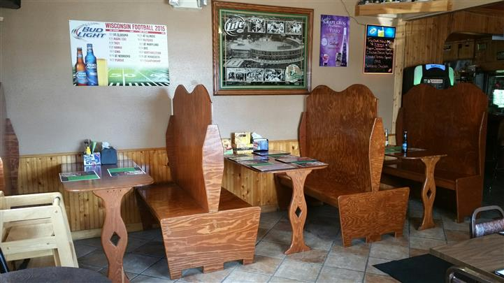 wooden booths and tables