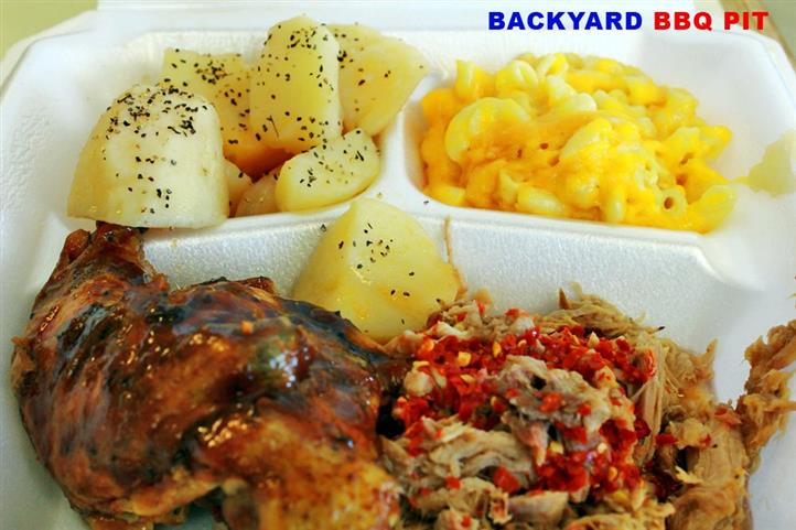 bbq entree plate with meat and vegetables