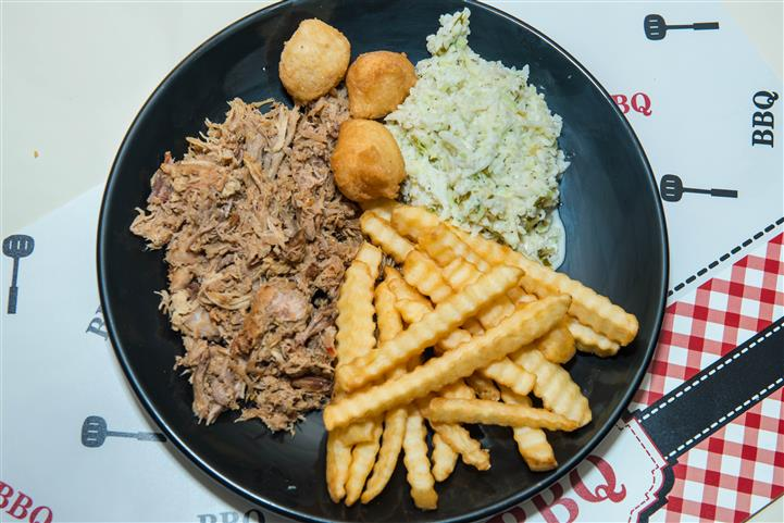 pulled pork with hush puppies and fries
