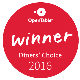 Open Table Winner. Diner's Choice 2016.