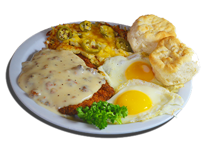 fried chicken with gravy, two eggs sunny side up, two biscuits and hashbrowns with cheese and jalapenos