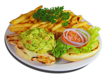 chicken sandwich topped with guac, lettuce, tomato, onions and a side of french fries