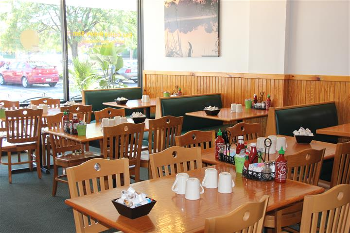 tables and booths inside restaurant