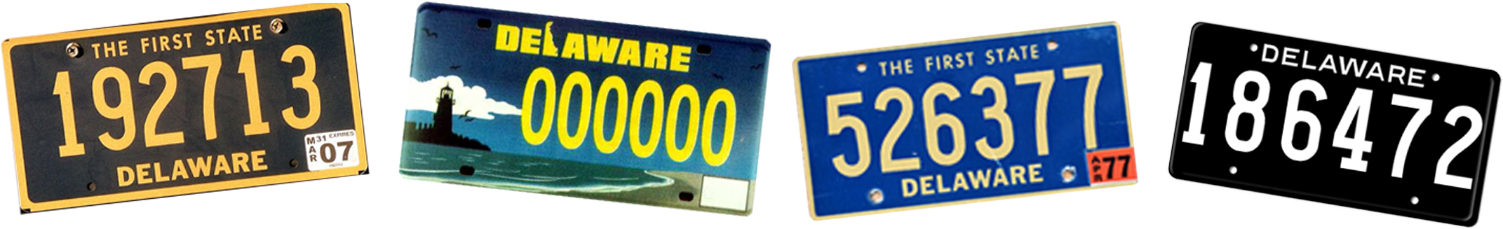 Decorative vintage delaware license plates