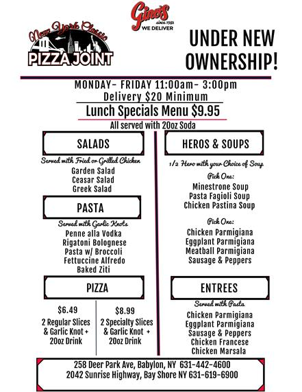 ginos lunch specials - available Monday-Friday 11Am-3Pm