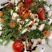 salad with mozzarella tomatoes croutons and balsalmic